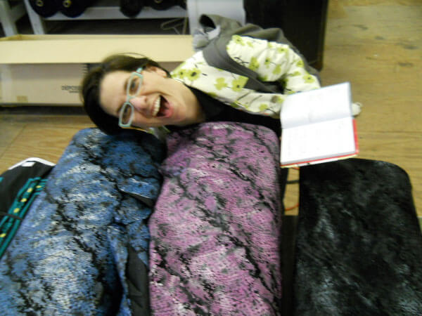 Melissa during a shopping trip for machine sewing fabrics.