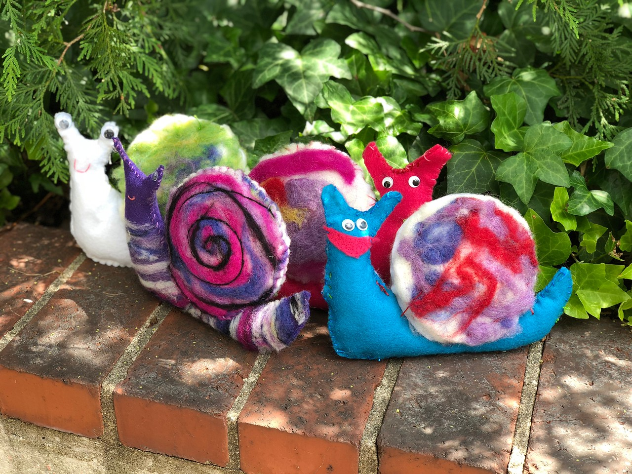 Felted snails, Narberth handwork studio