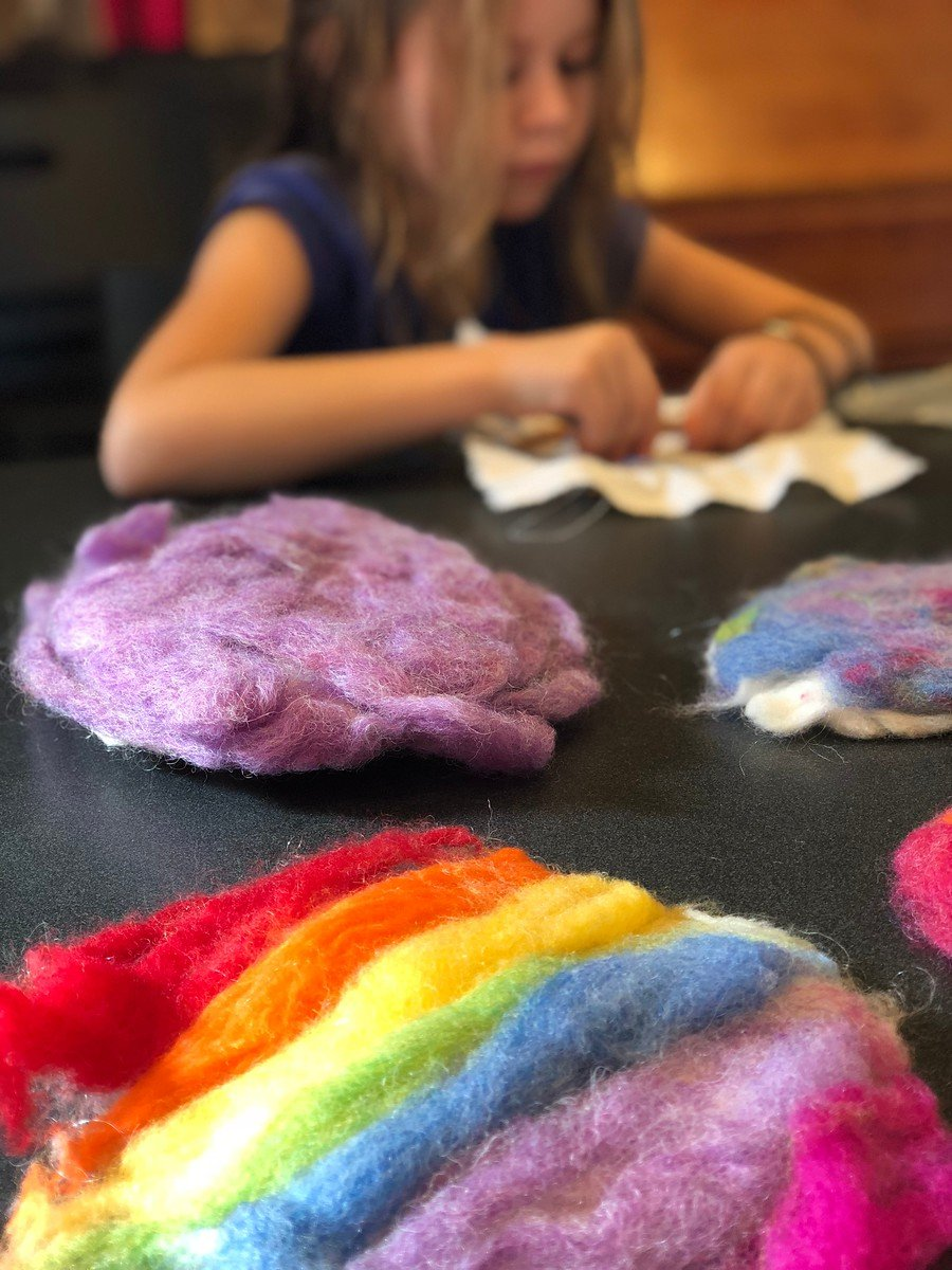Kid wet felting, Narberth Handwork Camp