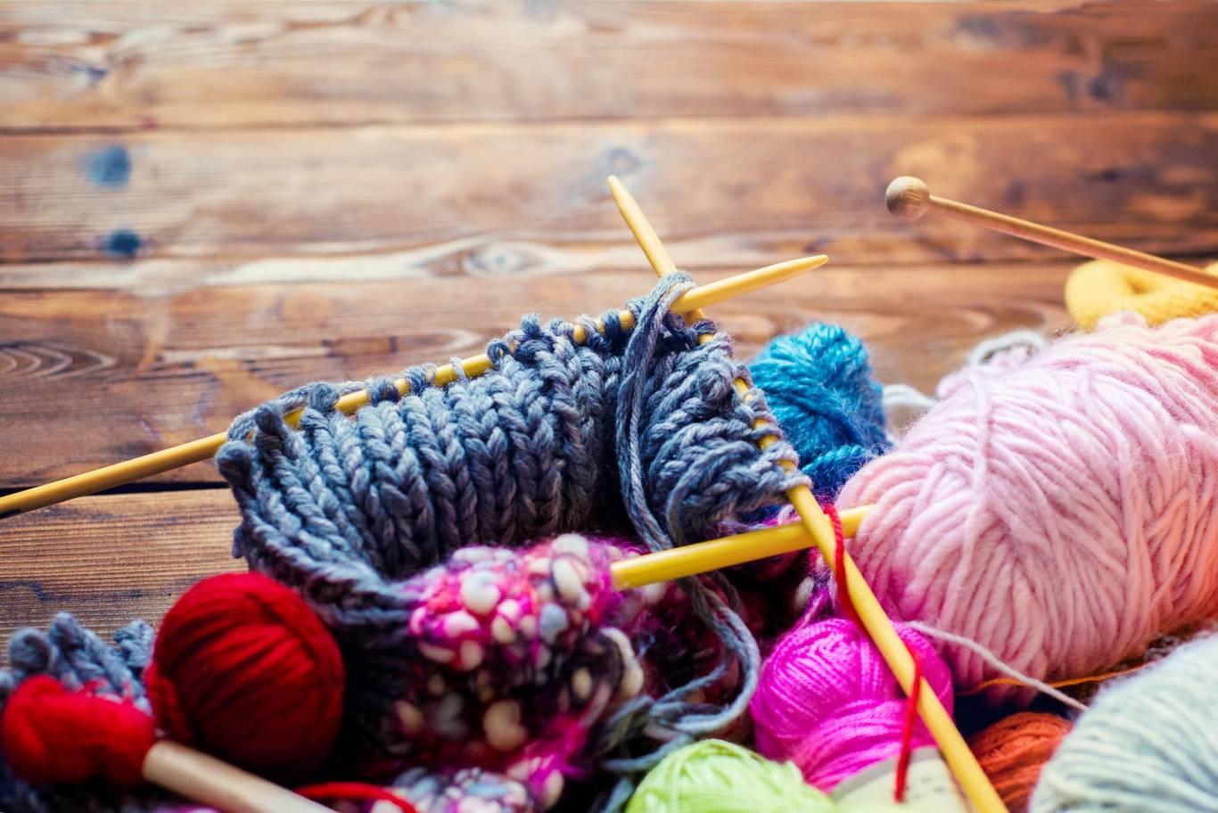 Stock photo of knitting needles and yarn