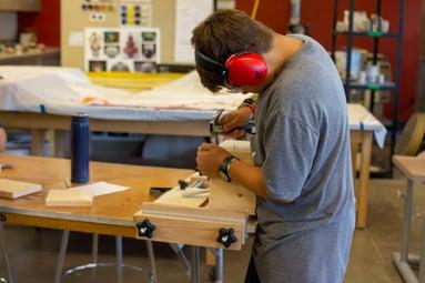 Woodworking - boy - focused - 2019