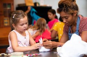 fiber arts - girl instructor Gem - sewing - focused - 2019